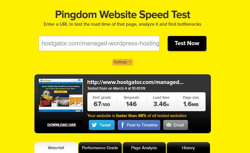 hostgator speed