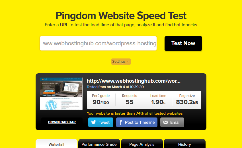 webhostinghub speed