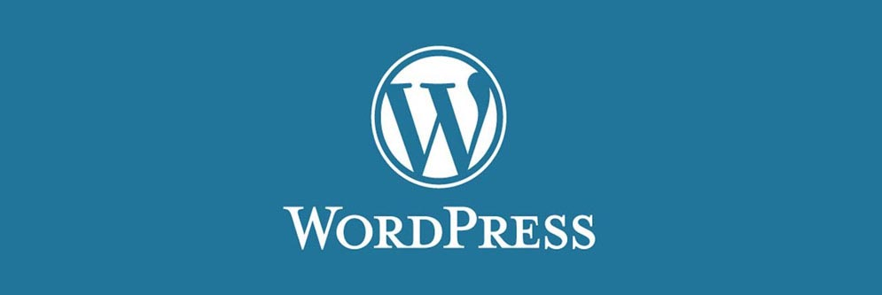 wordpress logo on blue background
