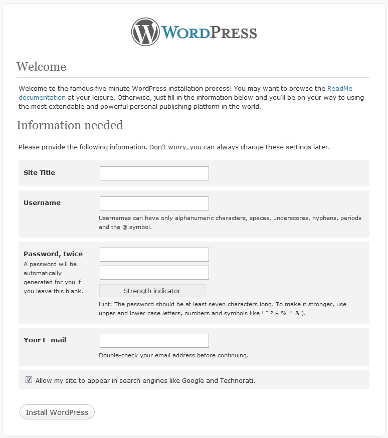 wordpress setup information screen