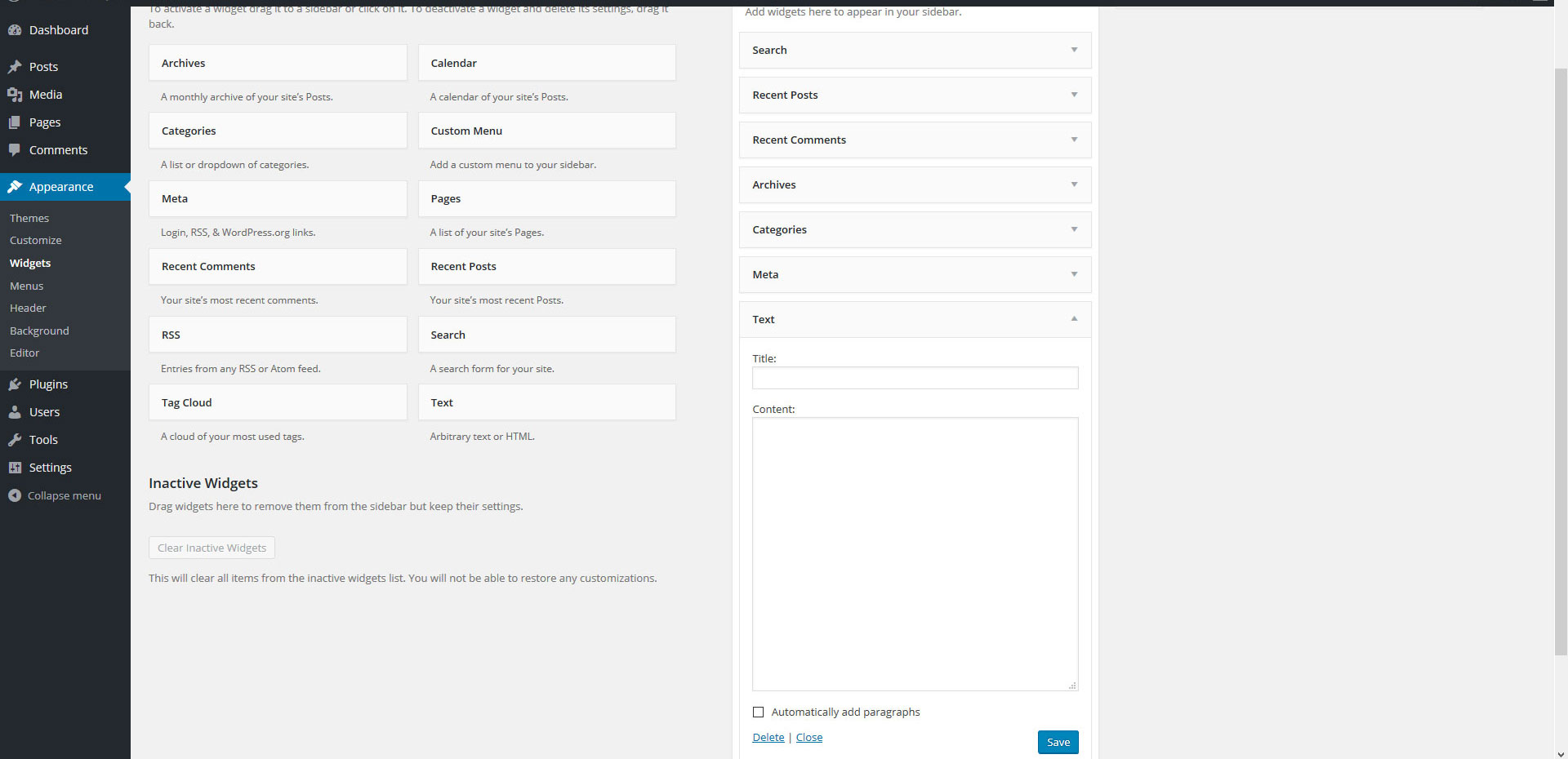 wordpress appearance page
